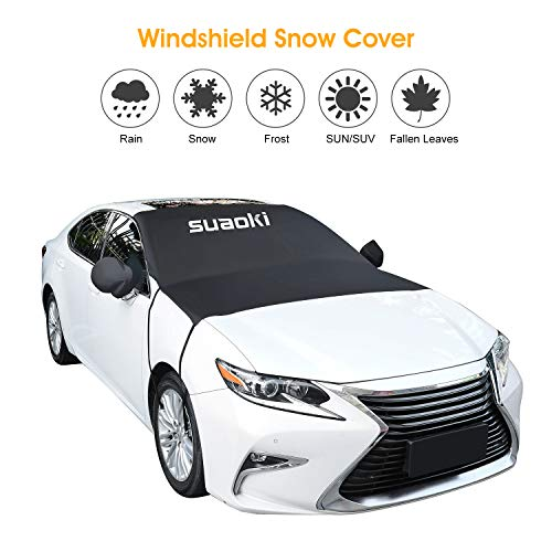 SUAOKI Windshield Sun Shade and Snow Cover Car Windshield Guard - Sun Protector, Frost, Snow, Ice, Double Side Design Exterior Waterproof Fits Most Cars, SUV, Trunk, Van (80x 59)