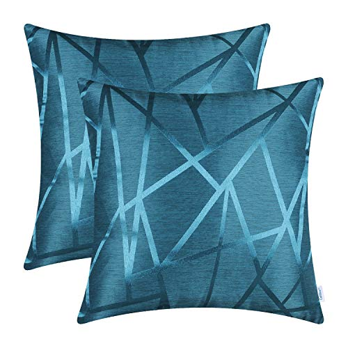 CaliTime Pack of 2 Throw Pillow Covers Cases for Couch Sofa Home Decor Modern Shining & Dull Contrast Triangles Abstract Lines Geometric 18 X 18 Inches Seaport ()