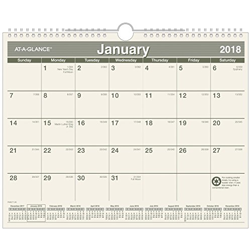 AT-A-GLANCE Monthly Wall Calendar, Recycled, January 2018 - December 2018, 14-7/8