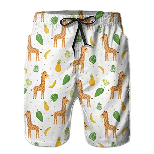 Ute Cartoon Little Giraffe Men's Swim Trunks Quick Dry Bathing Suits Summer Casual Surfing Board Shorts