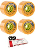 78mm Seismic Skate Systems Blast Wave Longboard Skateboard Wheels with Bones Bearings - 8mm Bones Swiss Skateboard Bearings - Bundle of 2 items