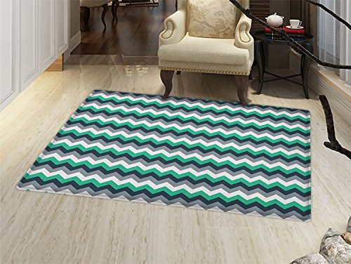 smallbeefly Chevron Door Mats for inside Zig Zag Symmetric Arrows Striped Pattern in Vibrant Color Artisan Print Bath Mat for tub Bathroom Mat Jade Green Grey -