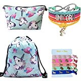 Unicorn Gifts 4 Pack - Unicorn Drawstring Backpack/Makeup Bag/Rainbow Bracelet/Hair Tie (Blue 2)