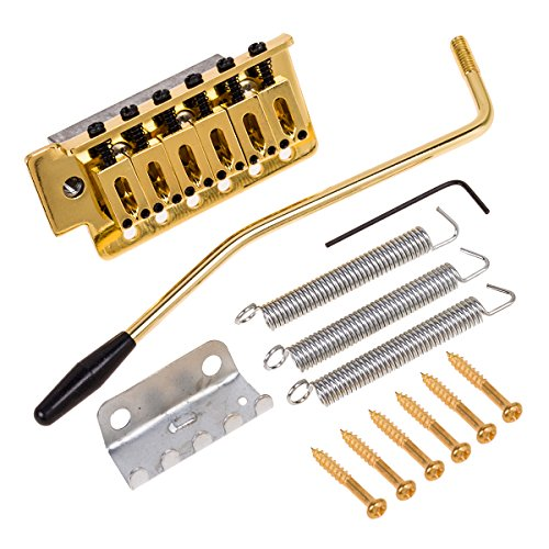 Kmise Electric Guitar Tremolo Bridge Single Locking System For Fender Strat Guitar Parts Replacement (Gold)