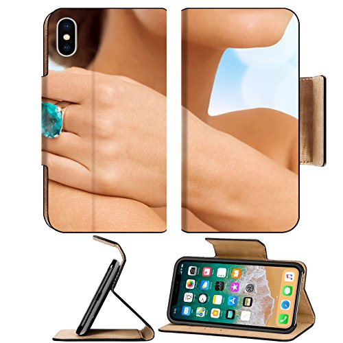 MSD Premium Apple iPhone X Flip Pu Leather Wallet Case wedding bridal jewelry and concept close up of beautiful woman hand with big IMAGE (Bridal Concept Jewelry)