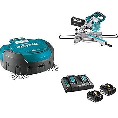 "Makita DRC200Z 18V X2 LXT (36V) Brushless Robotic Vacuum, XSL02Z 18V X2 LXT (36V) Brushless 7-1/2"" Dual Slide Compound Miter Saw, & BL1850B2DC2 18V LXT Battery & Charger Starter Pack (5.0Ah)"