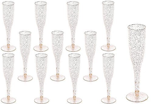 60 pc Gold Glitter Classicware Glass Like Champagne Wedding Parties Toasting Flutes (1 Box = Quantity 60)