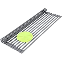 """SONGMICS Roll-Up Dish Drainer Rack Bonus Dish Scrubber Multipurpose Square Rods Drying Rack Over the Sink Kitchen Countertop 20 1/2""""L x 13 3/8""""W Gray UKDR02G"""