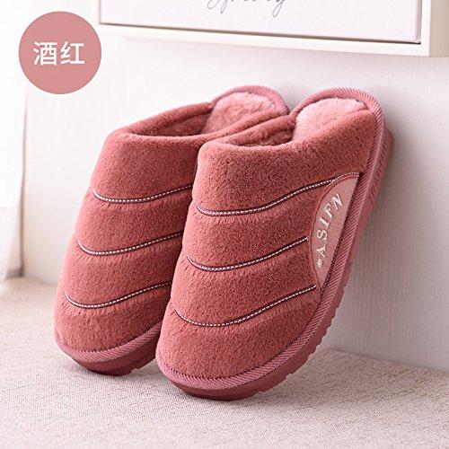 Pantofole fankou femmina caldo al coperto pattini accoppiano home non-slip di spessore piano piano il cotone pantofole inverno, 40-41 , vino rosso