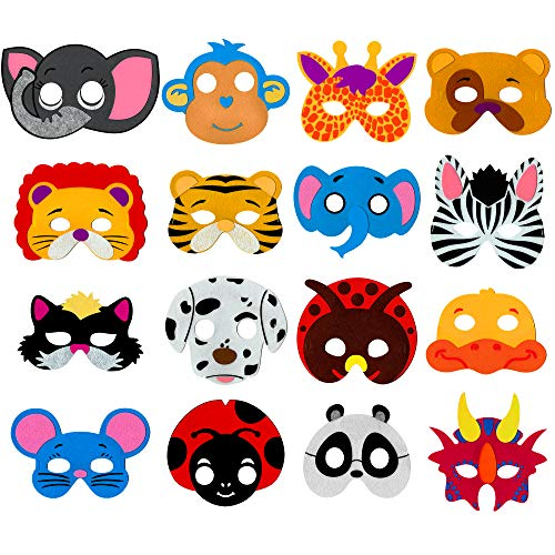 Little Seahorse Animal Masks for Kids Party - 16 Assorted Felt Masks, Birthday Parties -