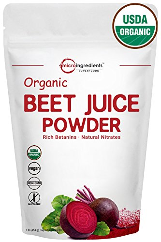 Pure Organic Beet Root Juice Powder, 1 Pound (454g), Natural Nitrates for Energy Booster, Best Superfoods. Non-Irradiated, Non-Contaminated, Non-GMO and Vegan Friendly.