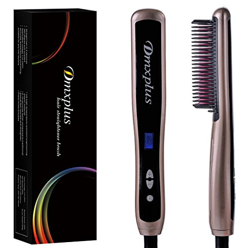 Electric Hair Straightener Straightening Brush From Dmxplus With Fastest Ceramic Comb Heating Styling And Safest Anti-scald Design,Adjustable Temperature Hot Brush,LCD Display,Hair Care Gift (Gold) by Dmxplus