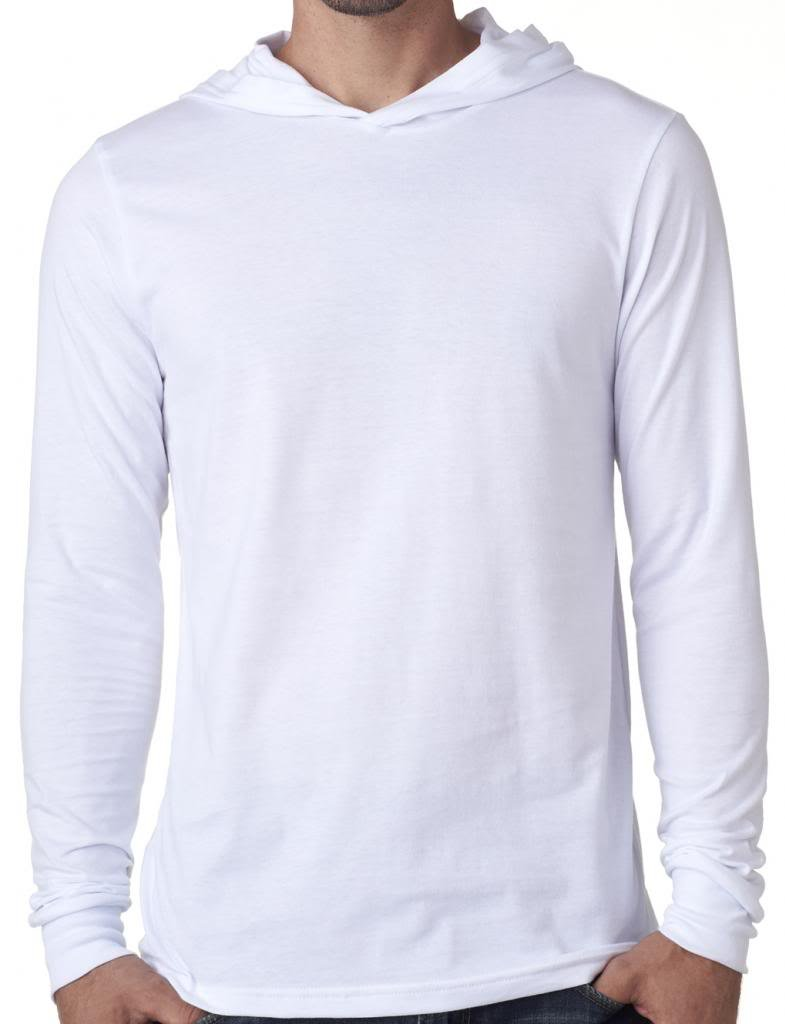 Yoga Clothing For You Mens Lightweight Long Sleeve Hoodie Tee Shirt, XL White