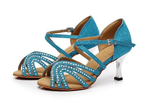 Talons Samba Sandales Chacha 5 Sparking Our35 Eu34 Tango Talon De Salsa 5cm Jshoe Femme Chaussures Latin Jazz Bleu7 Hauts Modern Crystals uk3 wgx487qHO