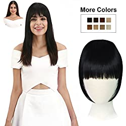 REECHO Fashion One Piece Clip in Hair Bangs/Fringe/Hair Extensions Color Natural Black