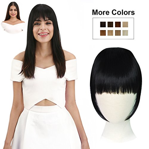 REECHO Fashion Full Length Synthetic 1 Piece Layered Clip in Hair Bangs Fringe Hairpieces Hair Extensions Color - Natural Black ()