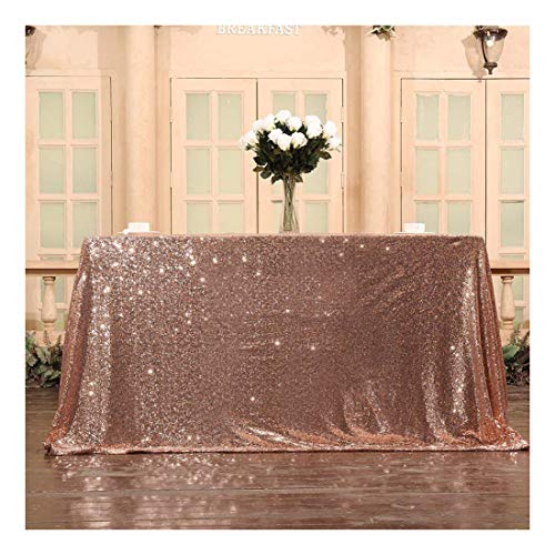 Poise3EHome Rose Gold Sequin Tablecloth for Wedding Party Bridal Shower, Square 50x50 -