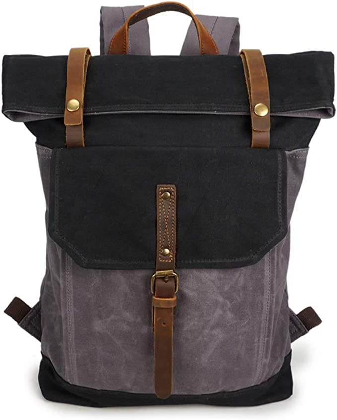 AHWZ Canvas Bag Backpack Male Travel Retro Canvas Bag Large Capacity Outdoor
