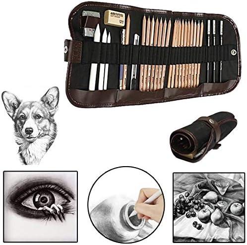 Crayons /à dessin 18 pcs Ensemble de crayons /à dessin avec bo/îtes /à fusain Crayon /à dessin et crayons de couleur aiguis/és