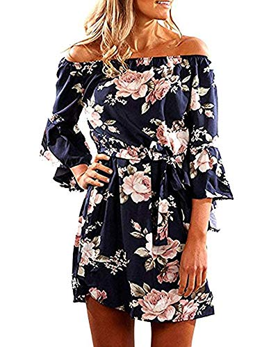 (POGTMM Women's Elegant Ruffle Off The Shoulder Pleated Floral Print Cocktail Dress with Belt(Blue,L))