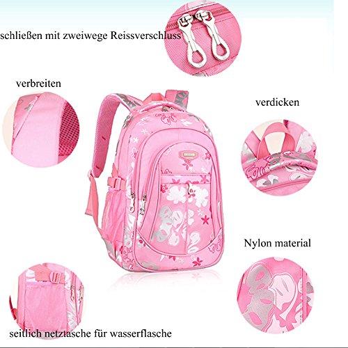 YAAGLE Schultasche Mädchen sport Schulrucksack praktisch kinderrucksack süß Blumen Schule Tasche aus Nylon mehrfarbig lässig Daypack lila(klein)