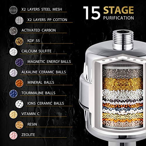 Luxury Shower Head Set with High Output 15 Stage Hard Water Softener - Universal Shower System Removes Chlorine and Harmful Substances - Solution for Dry Skin & Hair Loss - 2 Additional Cartridges