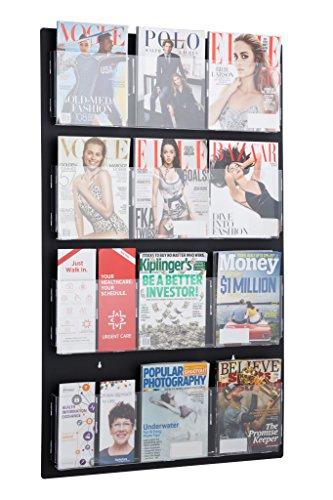 - AdirOffice Hanging Magazine Rack with Clear Acrylic Adjustable Pockets, 29