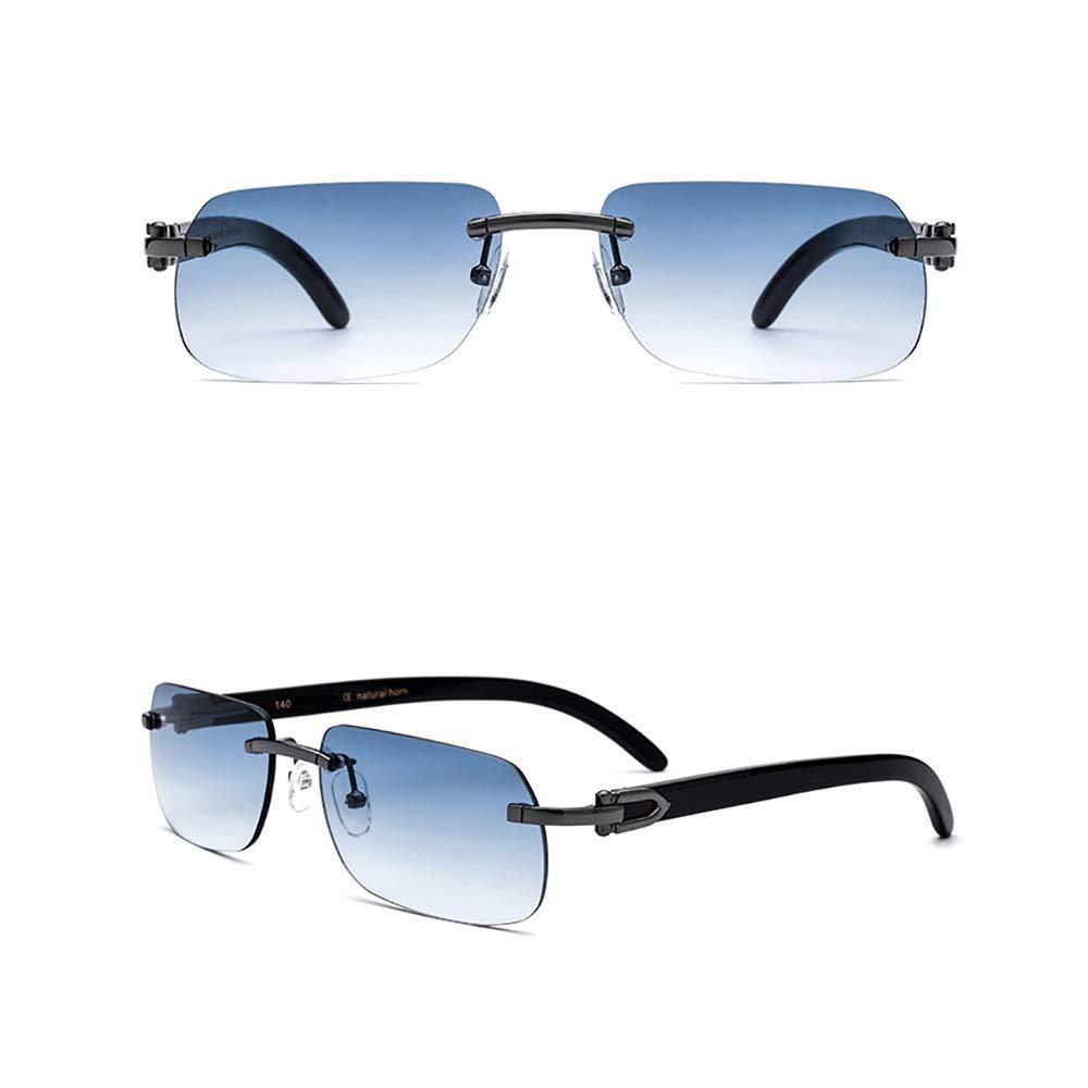 サングラス 男女兼用の高級サングラス、UVカット、貴重なホワイトホーンメガネレッグ。, ファッションサングラス  ブラックブルー B07RSWGV4D