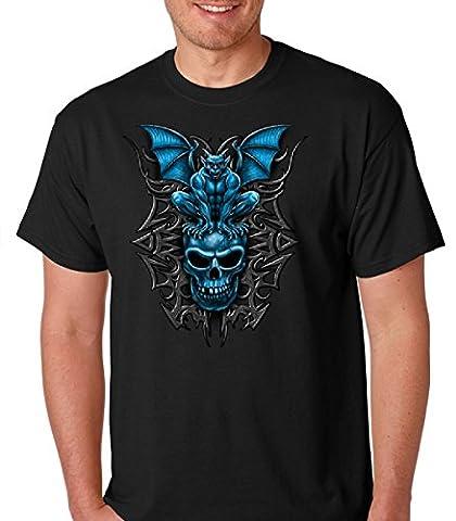 Gargoyle with red eyes on blue skull premium softstyle men's short sleeve tshirt (Large, Black) (Funny Gargoyles)