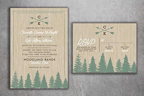 Woods Rustic Tree Wedding Invitation Set Printed, Country Wedding Invitations, Woods, Outdoors, Wedding Invitations, Affordable, Pine Trees -