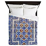 CafePress Mexican Tilework Queen Duvet Cover, Printed Comforter Cover, Unique Bedding, Microfiber