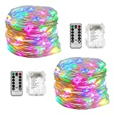 Fanme String Lights 2 Sets Battery Operated 33FT 100 LEDs Fairy Light Rope Waterproof Flexible Silver Wire Bright 8 Modes Remote Control Starry Lights for Bedroom Wedding Festival Décor (multi-colors)