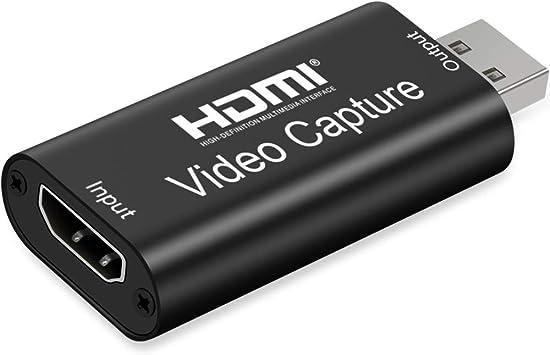 Todo para el streamer: Aokeou Convertidor De Captura De Vídeo, HDMI A USB 2.0 Capturadora Digitalizadora De Vídeo Game Capture HDMI - USB 2.0 1080P 60FPS HD Dispositivo De Transmisión (Negro)