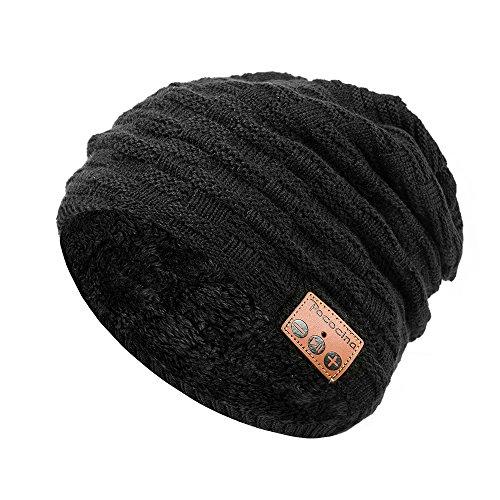 Bluetooth Wireless Beanie Hat, Pococina Hands-Free Sport Knit Cap Speaker, Built-in Mic (HW black)