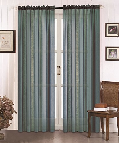 All American Collection New 2pc Doli Sheer Curtain Dusty Blue by All American Collection