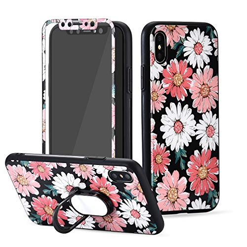 Logee Flower Floral Pattern Case for iPhone Xs Max,Screen Protector Tempered Glass Film+Ring Holder Kickstand,Unique Women Girls Lady Phone Cover, 360 Full Body Protection Cases for iPhone XsMax 6.5