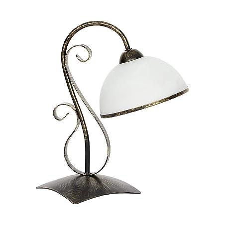 Forma Bonita lámpara de mesa en latón pátina Blanco 1 x E27 ...