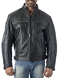 Reed Mens Vented Leather Motorcycle Jacket with Light Reflector (3xl)
