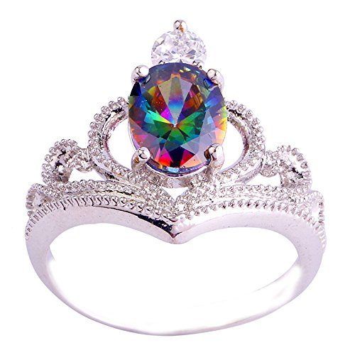 Empsoul 925 Sterling Silver Natural Chic Filled Rainbow & White CZ Princess Queen Tiaras Crown Wedding Band Ring