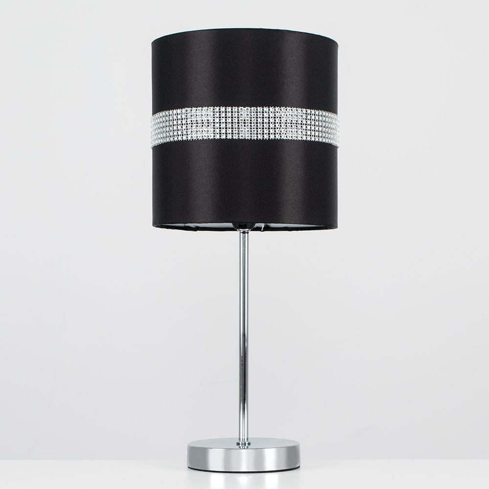 Modern Silver Chrome Dimmable Touch Table Lamp With A Decorative Black And Silver Diamante Jewel Effect Polycotton Shade