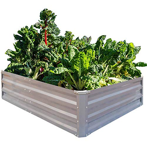 - FOYUEE Galvanized Raised Garden Beds for Vegetables Metal Planter Boxes Outdoor Large Patio Bed Kit Planting Herb 4 x 3 x 1ft