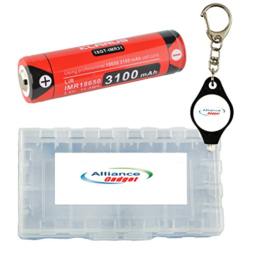Klarus 18GT-IMR31 18650 IMR 3100mAh Lithium Rechargeable Battery with Battery Box, and Key Chain Light by Klarus