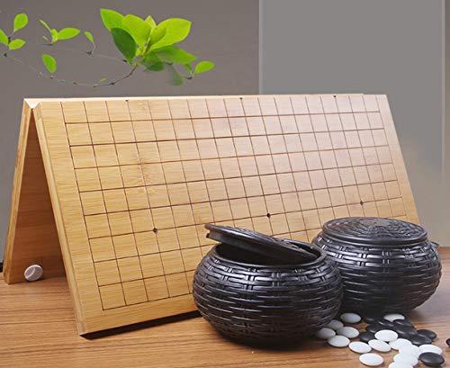 囲碁セット 竹製碁盤 携帯便利 折り畳み式碁盤 (折碁盤と碁石・碁笥)の商品画像