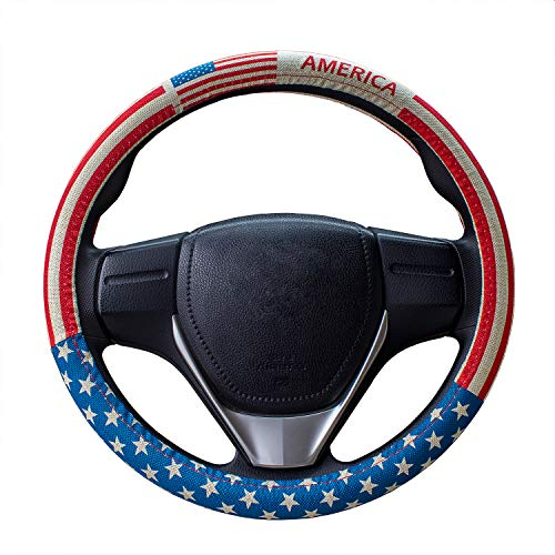 B-Sin Universal 15 inch American Flag Linen/Cotton Fabric Auto Car Steering Wheel Cover