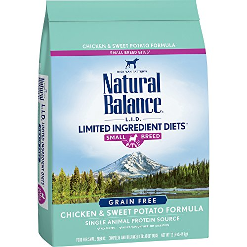 Natural Balance Small Breed Bites L.I.D. Limited Ingredient Diets Dry Dog Food, Grain Free, Chicken & Sweet Potato Formula, 12-Pound (Dog Breed Bites)