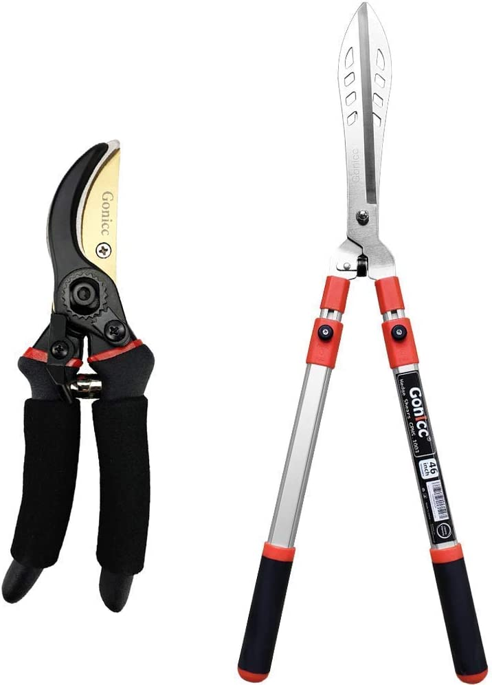 "Gonicc 8 Professional Premium Titanium Bypass Pruning Shears (GPPS-1003) and Adjustable 33""+ 13"" Hedge Shears. Hand Pruners, Garden Clippers."