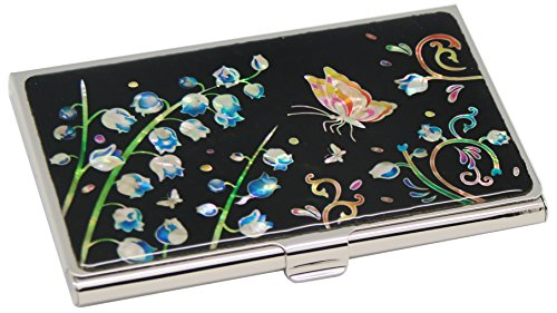the of Id Credit of Metal Engraved Wallet Holder Valley Mother Case Pearl Business Cash Stainless Slim Steel Card Black Pocket Design Purse Money Name Lily 7Id44fq