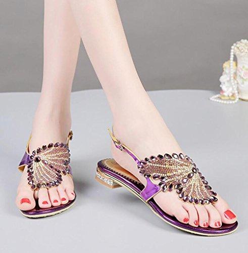 Lila Damen Heels Leder SYYAN Farbe Low Handmade Diamant Kleid Pure Sandalen Open Toe S76nHxw6qd