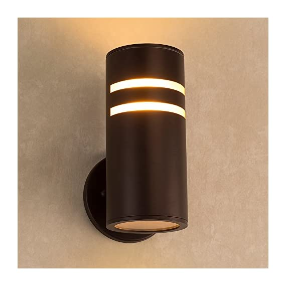 Outdoor Wall Lamp,Naturous PLW05 Waterproof Cylinder Porch Light, Modern Outdoor Lighting, UL US Listed, Painted Brown Wall Sconce, Suitable for Villa - Modern Outdoor Wall Lamp: Made of Stainless Steel(light body) and Aluminum Alloy(up/down lids), Sealed with Silicone adhesive, Painted Brown. UL listed. Nice for exterior porch, patio, garden,open field,indoor and outdoor dual-use. Waterproof IP54: Well-constructed with Weather Resistant & Rust Resistant. - patio, outdoor-lights, outdoor-decor - 51gNF832rfL. SS570  -