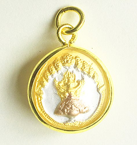 Amulets Pendant Thai Garuda King of Birds Power Charm Protect Lucky Success Thai Buddha Gold Crystal Mini Pendant, Good Luck and (Mini Buddha Charm)
